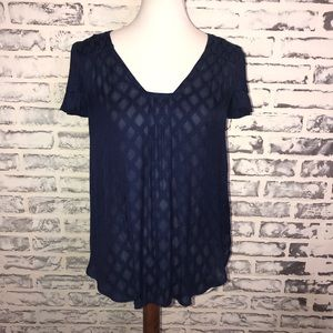 Anthropologie Tops - Maeve Anthropologie Pintucked Navy Blue Blouse Top